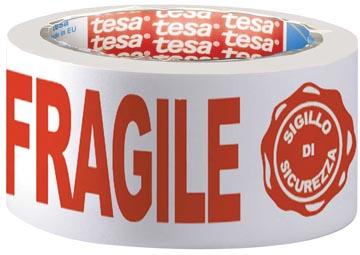 Tesa verpakkingsplakband: FRAGILE, ft 50 mm x 66 m