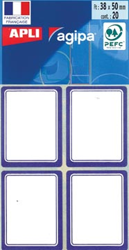 Agipa schooletiketten ft 38 x 50 mm (b x h), 32 etiketten per etui, blauwe rand