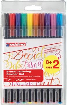 Edding brushpen 1340, set van 10 stuks in geassorteerde kleuren (8 + 2 gratis)