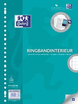 Oxford ringbandinterieur voor ft A4, 23-gaatsperforatie, met kantlijn, 200 bladzijden, geruit 10 mm