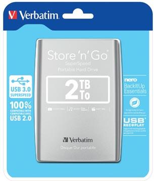 Verbatim harde schijf 3.0 Store 'n' Go, 2 TB, zilver