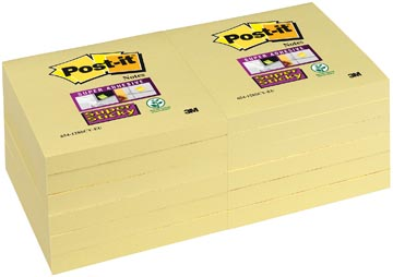 Post-it Super Sticky notes, ft 76 x 76 mm, geel, 90 vel, pak van 12 blokken