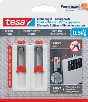 Tesa Klevende Spijker, draagkracht 0,5 kg, kleine apparaten, behang en pleisterwerk, 2 spijkers, 3 strips