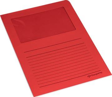 Pergamy L-map met venster, pak van 100 stuks, rood