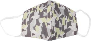 Wasbaar mondmasker, army green motief, maat: heren, pak van 5 stuks